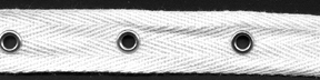 "3/4"" Width Twill Tape With 1.5"" Spaced Eyelets<br>White Twill Tape, Nickel Eyelets"