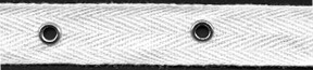 "3/4"" Width Twill Tape With 2"" Spaced Eyelets<br>White Twill Tape, Nickel Eyelets"