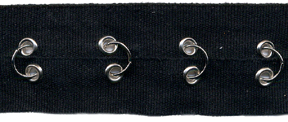 "1.5"" Width Twill Tape With Rings and Eyelets<br>Black Twill Tape, Nickel Rings and Eyelets"