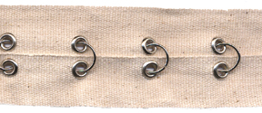 "1.5"" Width Twill Tape With Rings and Eyelets<br>Natural Twill Tape, Nickel Rings and Eyelets"