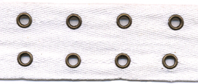 "1.5"" Width Twill Tape With 7/8"" Spaced Double Row Eyelets"