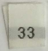 "#33 1/2"" Wide X 3/4"" Tall Woven Size Tab-White Background with Black Print"