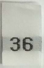 "#36 1/2"" Wide X 3/4"" Tall Woven Size Tab-White Background with Black Print"