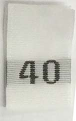 "#40 1/2"" Wide X 3/4"" Tall Woven Size Tab-White Background with Black Print"