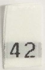 "#42 1/2"" Wide X 3/4"" Tall Woven Size Tab-White Background with Black Print"