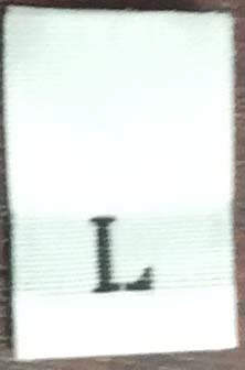 """L"" 1/2"" Wide X 3/4"" Tall Woven Size Tab-White Background with Black Print"