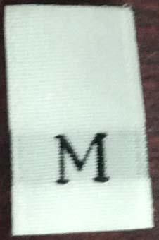 """M"" 1/2"" Wide X 3/4"" Tall Woven Size Tab-White Background with Black Print"