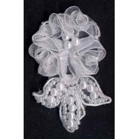 55mm Sheer Embroidered and Beaded Floral Applique - Applique