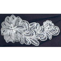95mm Sheer Embroidered and Beaded Floral Applique - Applique