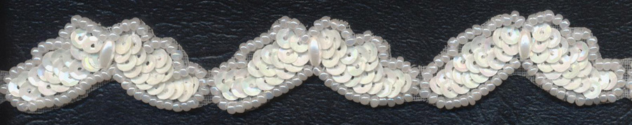"3/4"" Pearl And Sequin Butterfly Wings-White - Trim"
