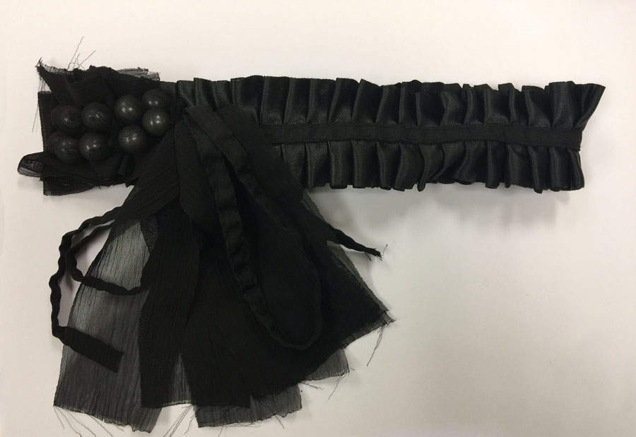 "11"" X 8"" Ribbon Ruffle Collar With Pearl Beads-Black - Collar"
