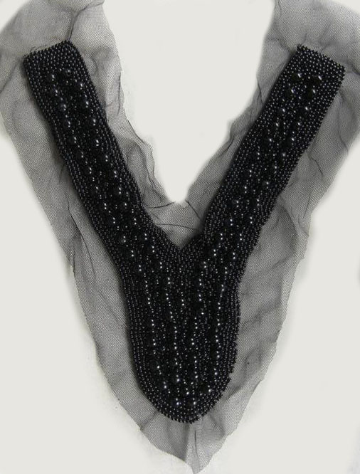 """Y"" Sequined Pearl And Crystal Beaded Mesh Collar-Black - Collar"