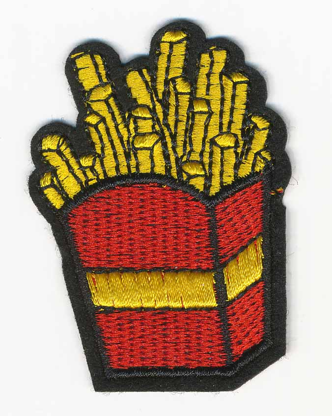 "1 3/4"" x 2 1/2"" French Fries Patch With Heat Seal-Yellow/Red/Black - Applique"