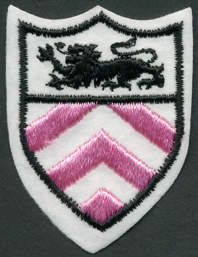 Shield Crest Patch Applique With Heat Seal-White/Black/Pink - Applique