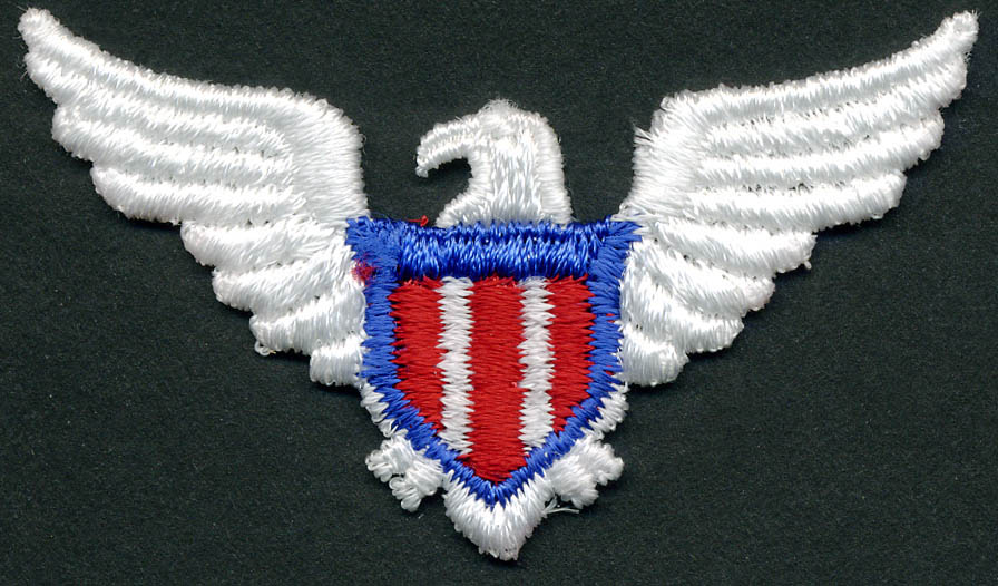 Eagle With Royal Blue/Red Shield Patch Applique-White - Applique
