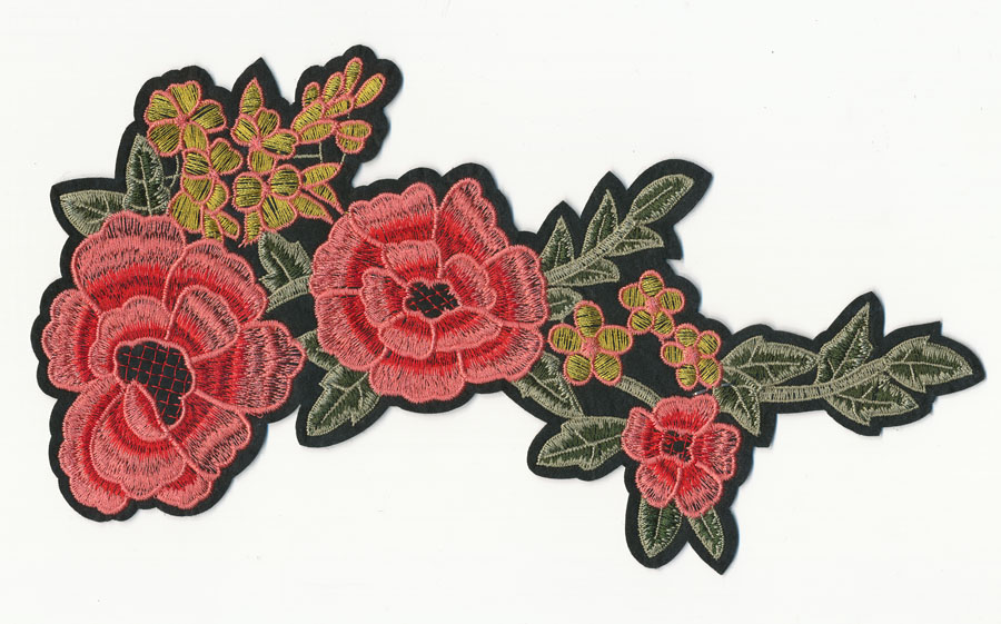 "10.25"" x 5.5"" Floral With Leafs- Coral/Res/Gold/Green - Applique"