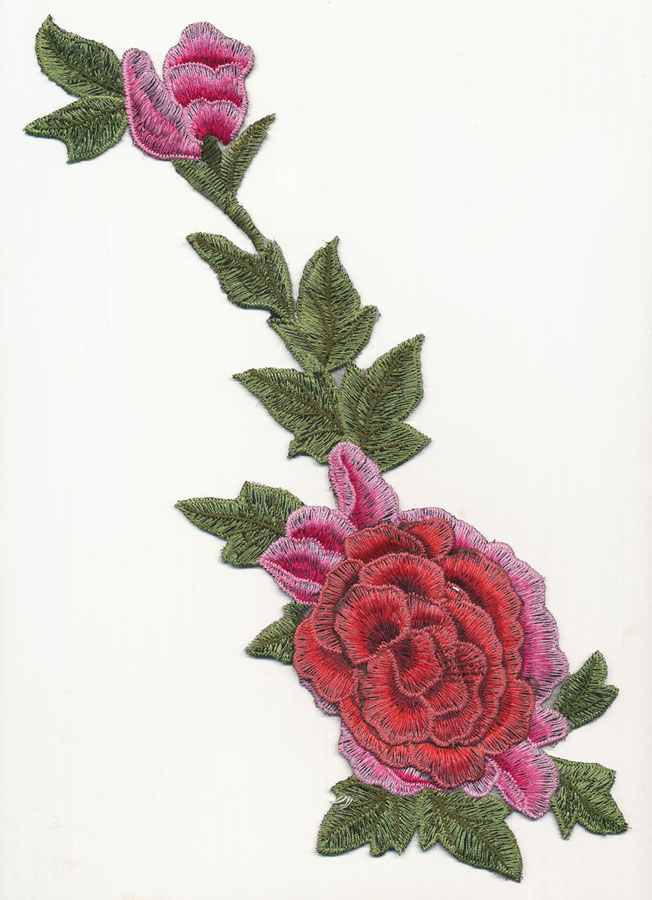 "13"" x 4.5"" 2D Large Rose With Bud-Red/Pink/Green - Applique"