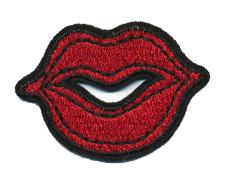 "1.25"" x 1.75"" Small Red Lips Patch Applique-Red/Black - Applique"