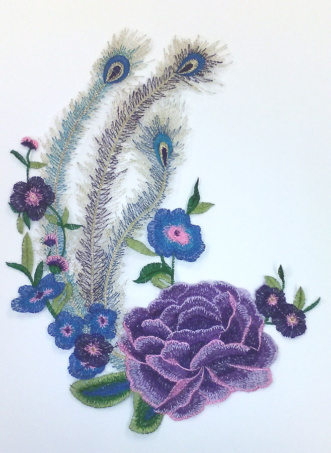 "11.25"" x 15"" Large Rose with Flowers and Peacock Feathers-Purple/Blue/Royal/Pink/Green - Applique"