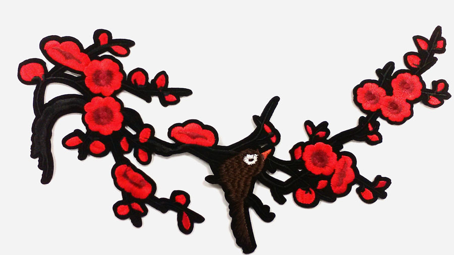 "10.5"" x 12"" Little Bird On Cherry Blossom Tree Branch With Heat Seal-Red/Black/Brown - Applique"
