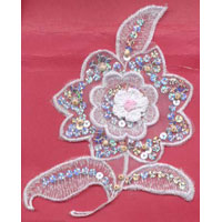 "6"" Sequin and Embrodered Crochet Flower - Applique"