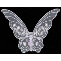 "5.75"" Sequin and Pearl Butterfly on Net - Applique"