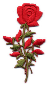 "1+1/2"" X 3"" Rose Applique-Red/Green Combo - Applique"