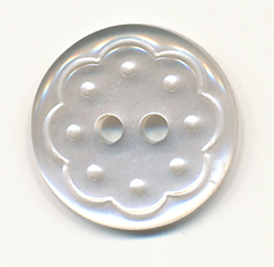 28L Floral 2-hole Button-White/Clear - Plastic Buttons