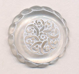 30L Fleur Shank Button-Crystal/White - Plastic Buttons