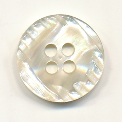 24L Etched 4-hole Button-Frost White - Plastic Buttons