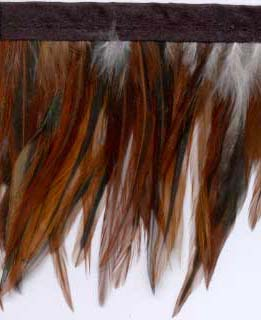"2.5"" Feather Fringe-Rust Brown Combo With Black Ribbon - Feather Fringe"