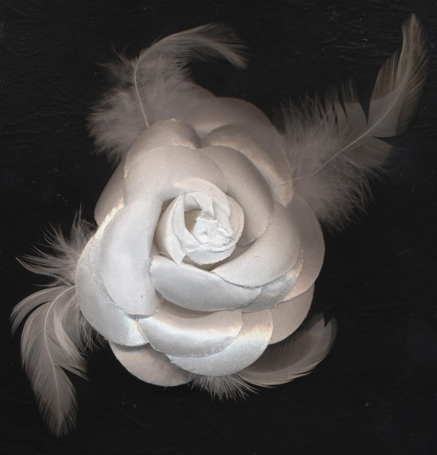 "4"" Flower With Feathers Pin Back-White - Flower"