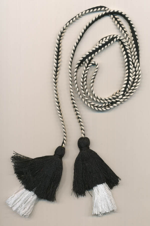 "3"" Cotton Double Tassels with Feather Cord-Black and White Combo - Tassels on Cord"