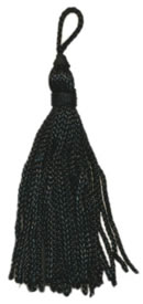 "2"", 36 end,  Rayon Tassel-Black - Single Tassels"