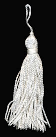 "3"", 48 end, Rayon Tassel-White - Single Tassels"