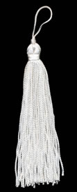 "4"", 48 end, Rayon Tassel-White - Single Tassels"