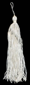 "6"", 60 end, Rayon Tassel-White - Single Tassels"