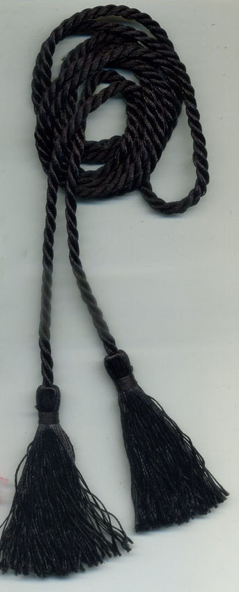 "3"" Rayon Tassels on 60"" Twist Cord-Black - Tassels on Cord"