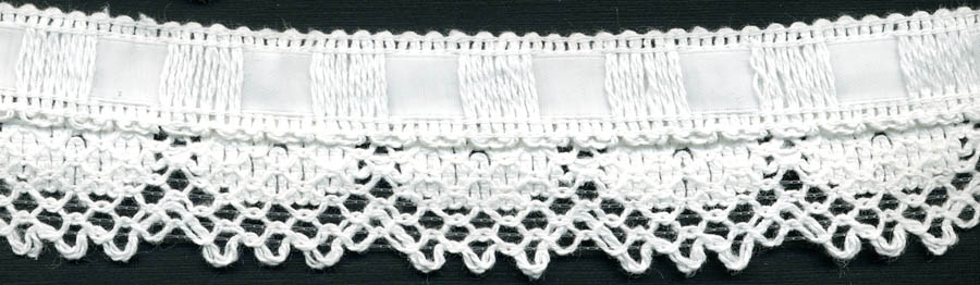 "1.5"" Cotton Knit Edge Lace With Ribbon-White - Crochet/Knit Lace"