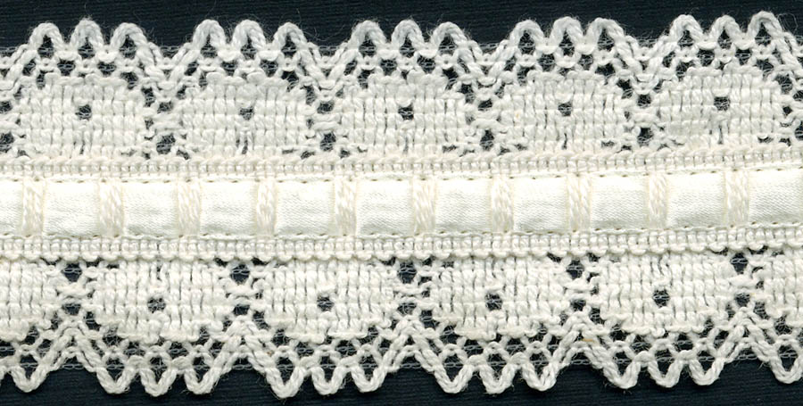 "1.5"" Cotton Knit Galloon Lace With Beading-Natural - Crochet/Knit Lace"