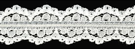 "1"" Polyester Raschel Lace Galloon-Ivory - Raschel Lace"