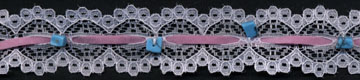 "1"" ""Suede/Turquoise Bead"" Lace Galloon-White/Pink/Turquoise - Raschel Lace"