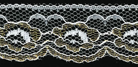 "1"" Flat Lace-White/Gold - Raschel Lace"