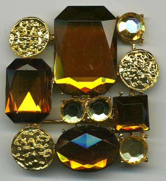 "1.5"" x 1.75"" Rhinestone Brooch-Amber Combo - Brooches"