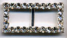 "1.18"" Square Rhinestone Slider Buckel-Crystal Glass Stones/Silver Slider - Sliders"