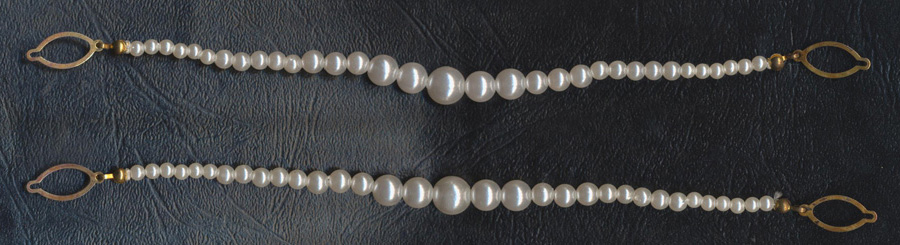"8"" Graded Pearl Watch Chain-White Pearls/Gold End Ovals - Trim"