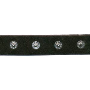 "1"" Spaced 15L Snaps on 3/4"" Black Poly Velvet - Snap Tape, Poly Velvet Tape"
