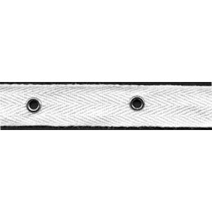 "3/4"" Width Twill Tape With 2"" Spaced Eyelets - White Twill Tape, Nickel Eyelets"